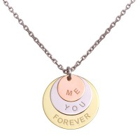 "Wholesale Sterling Silver 925 Rhodium Plated Engraved "" Me You Forever"" Disc Pendant Necklaces - SOP00087"