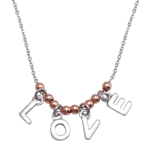 """Wholesale Sterling Silver 925 Rhodium and Rose Gold Plated """"Love"""" Necklace - SOP00088"""