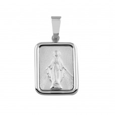 Wholesale Sterling Silver 925 Square Mary Medallion Pendant - SOP00092