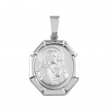 Wholesale Sterling Silver 925 Oval Mary And Baby Jesus Medallion Pendant - SOP00093