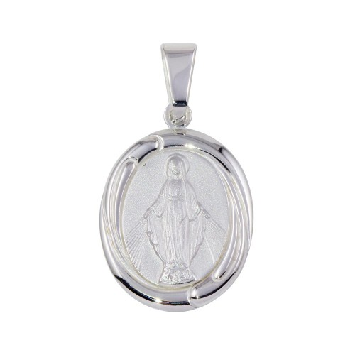 Wholesale Sterling Silver 925 Matte Finish High Polished Mary Medallion Pendant - SOP00094