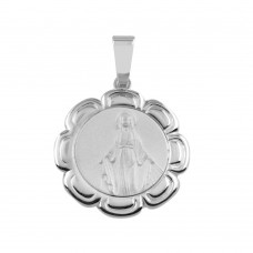 Wholesale Sterling Silver 925 Round Mary Medallion Pendant - SOP00095