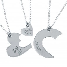Wholesale Sterling Silver 925 Rhodium Plated 3 Heart Family 3 Necklaces - SOP00103