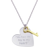 Wholesale Sterling Silver 925 Rhodium Plated Heart with Gold Key Necklace - SOP00110