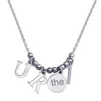 "Wholesale Sterling Silver 925 Rhodium Plated ""RU the  1 Charm Necklace - SOP00111"