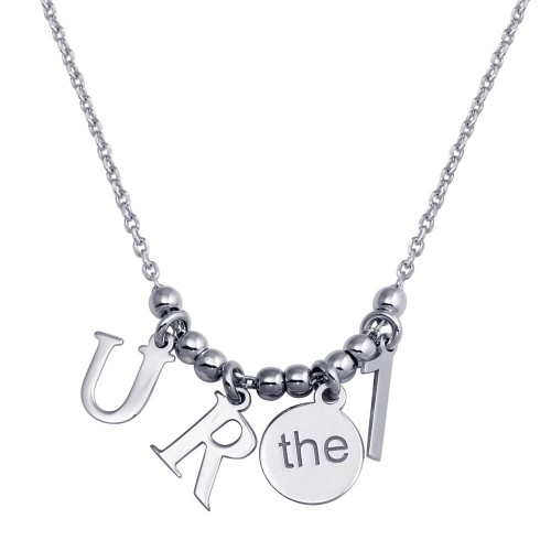 """Wholesale Sterling Silver 925 Rhodium Plated """"RU the  1 Charm Necklace - SOP00111"""