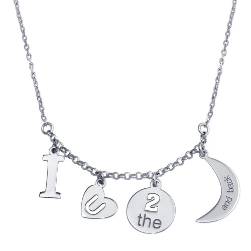 Wholesale Sterling Silver 925 Rhodium Plated I LOVE U 2 Moon Back Charm Necklace - SOP00112