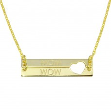 Wholesale Sterling Silver 925 Gold Plated Bar Open Heart MOM Necklace - SOP00113