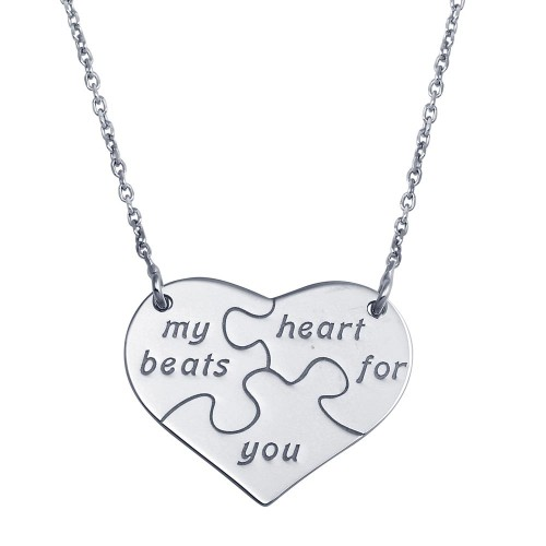 Wholesale Sterling Silver 925 Rhodium Plated Puzzle Heart Necklace - SOP00114