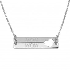 Wholesale Sterling Silver 925 Rhodium Plated Bar Open Heart MOM Necklace - SOP00115