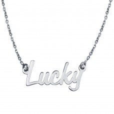 Wholesale Sterling Silver 925 Rhodium Plated Lucky Pendant Necklace - SOP00116