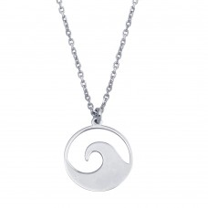 Wholesale Sterling Silver 925 Rhodium Disc Wave Design Necklace - SOP00117