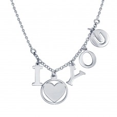 Wholesale Sterling Silver 925 Rhodium I Heart You Charm Necklace - SOP00118