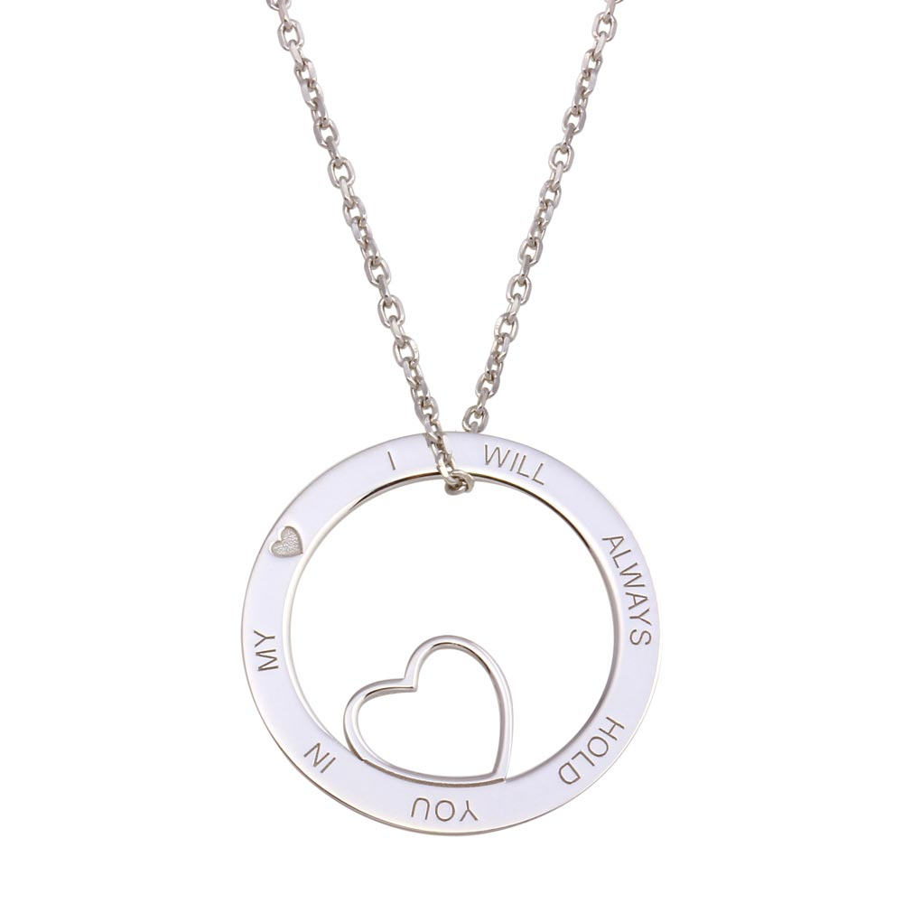 Wholesale Sterling Silver 925 Rhodium Open Disc Heart Necklace - SOP00119