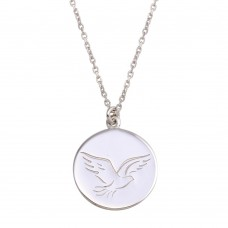 Wholesale Sterling Silver 925 Rhodium Disc With Dove Words Necklace - SOP00129