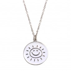 Wholesale Sterling Silver 925 Rhodium Disc Sun Word Necklace - SOP00130