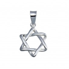 Wholesale Sterling Silver 925 Silver Finish High Polished Star of David Charm - SOP00132