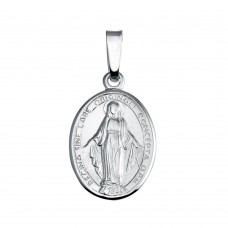 Wholesale Sterling Silver 925 Silver Finish High Polished Mary Medallion Charm - SOP00133
