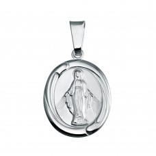 Wholesale Sterling Silver 925 High Polished Mary Medallion Pendant - SOP00134