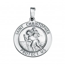 Wholesale Sterling Silver 925 Silver Finish High Polished St. Christopher Medallion Charm - SOP00136