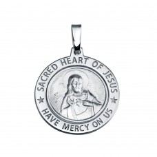 Wholesale Sterling Silver 925 Silver Finish High Polished Sacred Heart Of Jesus Medallion Charm - SOP00137