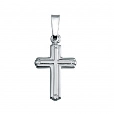 Wholesale Sterling Silver 925 Rhodium Plated Bordered Cross Pendant - SOP00139