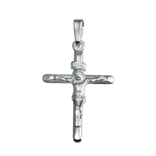 Wholesale Sterling Silver 925 Silver Finish High Polished Crucifix Pendant - SOP00145