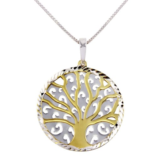 Wholesale Sterling Silver 925 Two-Toned Round Tree Pendant Necklace - SOP00064