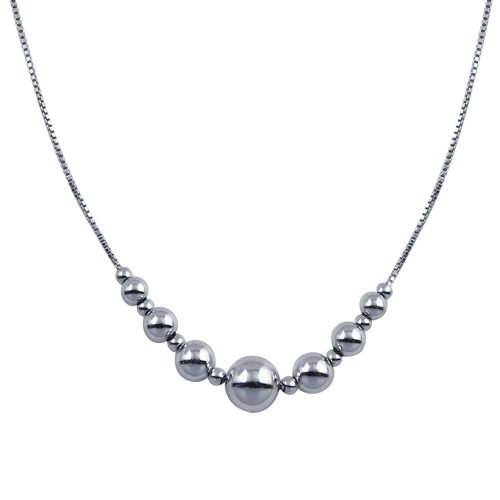 Wholesale Sterling Silver 925 Rhodium Plated 15 Beads Necklace - SOP00089