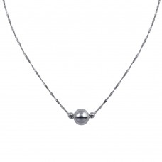 Wholesale Sterling Silver 925 Rhodium Plated 3 Beads Singapore Chain Necklace - SOP00091