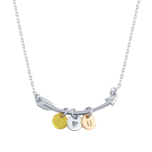 Wholesale Sterling Silver 925 Tri-Color Plated I Love YOU Disc on Arrow Necklace - SOP00099