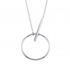 Wholesale Sterling Silver 925 Rhodium Plated Circle Bar Necklace - SOP00100