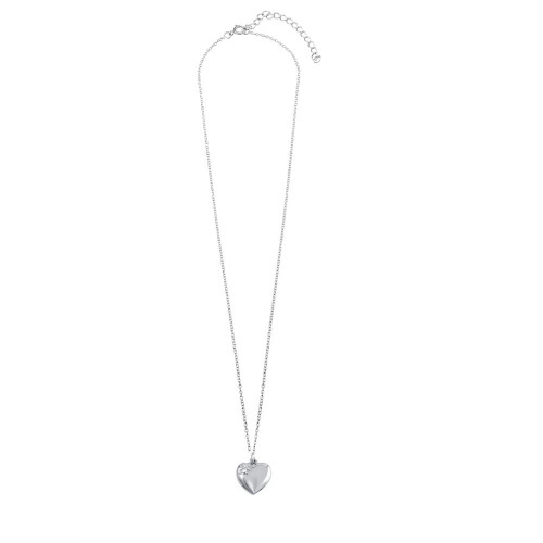 Wholesale Sterling Silver 925 Rhodium Plated Heart with CZ Necklace - SOP00101