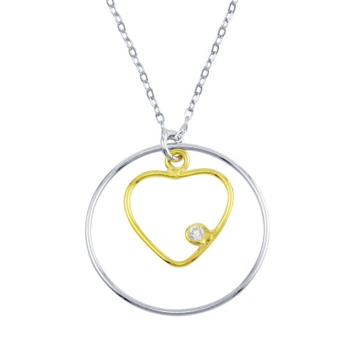 Wholesale Sterling Silver 925 2 Toned Open Heart And Circle Necklace - SOP00102