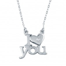 Wholesale Sterling Silver 925 Rhodium Plated CZ I Heart You Necklaces - SOP00104