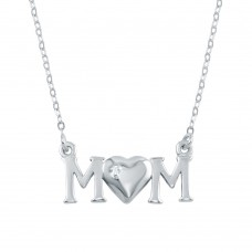 Wholesale Sterling Silver 925 Rhodium Plated CZ MOM Necklace - SOP00105