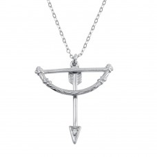 Wholesale Sterling Silver 925 Rhodium Plated Bow and Arrow Charm Necklace - SOP00106
