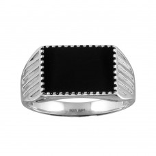 Wholesale Sterling Silver 925 Rhodium Plated Black Enamel Ring - SOR00001