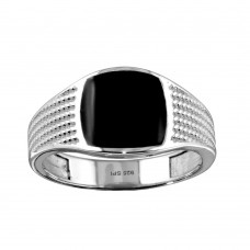 Wholesale Sterling Silver 925 Rhodium Plated Black Enamel Rope Design Shank Ring - SOR00002