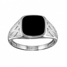 Wholesale Sterling Silver 925 Rhodium Plated Black Enamel Celtic Design Shank Ring - SOR00003