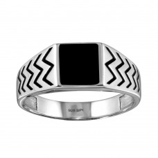 Wholesale Sterling Silver 925 Rhodium Plated Black Enamel Zig Zag Design Shank Ring - SOR00004