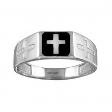 Wholesale Sterling Silver 925 Rhodium Plated Black Enamel Cross Ring - SOR00006