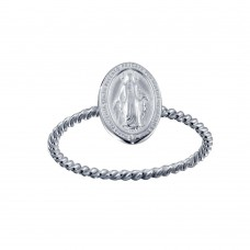 Wholesale Sterling Silver 925 High Polished Mary Medallion Ring - SOR00025