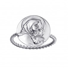 Wholesale Sterling Silver 925 High Polished Mother Mary Medallion Ring - SOR00029