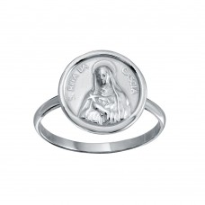 Wholesale Sterling Silver 925 High Polished Disc Mother Mary Design Ring - SOR00031