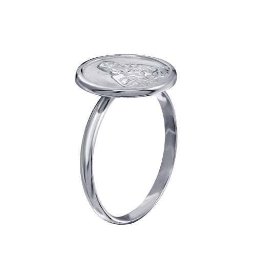Wholesale Sterling Silver 925 High Polished Disc Mother Mary Design Ring - SOR00032