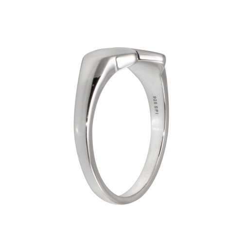 Wholesale Sterling Silver 925 Rhodium Plated Double Heart Ring - SOR00036