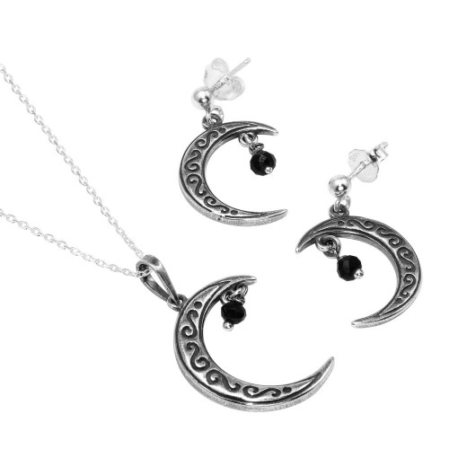 Wholesale Sterling Silver 925 Oxidized Designed Crescent With Hanging Black CZ Set - SOS00001