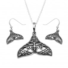 Wholesale Sterling Silver 925 Oxidized Whale Tail With Design Set - SOS00003