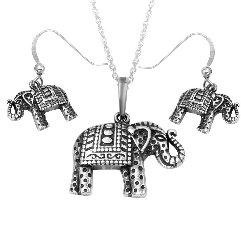 Wholesale Sterling Silver 925 Oxidized Elephant With Design Set - SOS00004